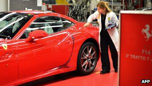 A Ferrari being checked at the company's factory in Maranello, Italy