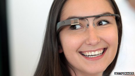 A Google employee wearing the company&#039;s Glass spectacles
