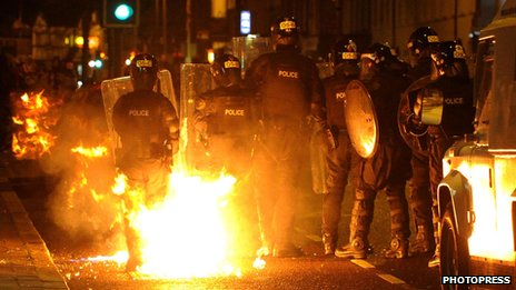 Police under petrol bomb attack at Castlereagh Street in East Belfast