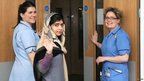 Malala Yousafzai leaves the Queen Elizabeth Hospital in Birmingham