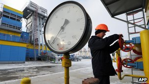 Ukrainian engineer at Mryn gas compressor station
