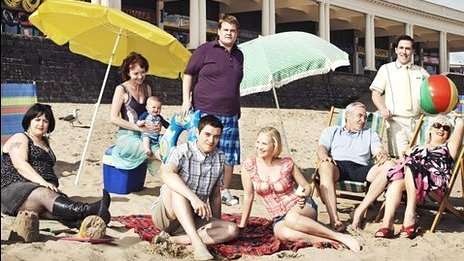 Gavin and Stacey cast on Barry beach