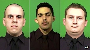 New York City police officers Michael Levay, Juan Pichardo and Lukasz Kozicki