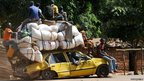 People leave Damara, the last strategic town between the rebels from the Seleka coalition and the country's capital Bangui.