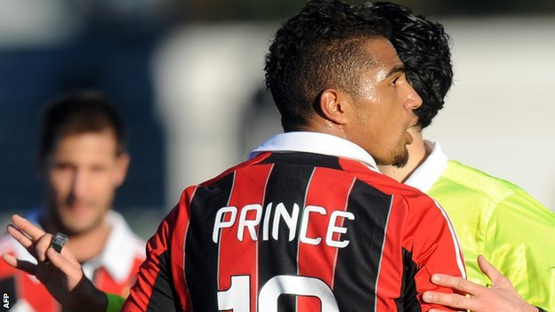 Kevin-Prince Boateng in the match against Pro Patria