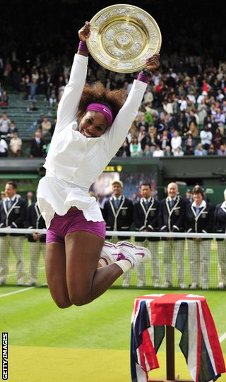 Serena Williams jumps for joy at Wimbledon