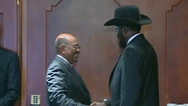 Presidents Omar al-Bashir of Sudan and Salva Kiir of South Sudan