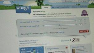 Wonga online loan form
