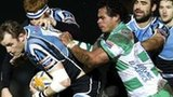 Glasgow Warriors captain Al Kellock drives forward despite attention from Loamanu Christian