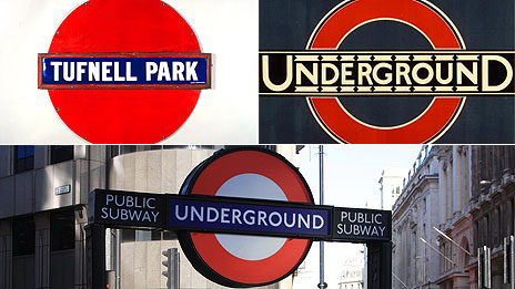 Roundels: (Clockwise) 1908 solid disc, Edward Johnston's 1920 roundel and current roundel
