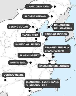 China Super League teams map