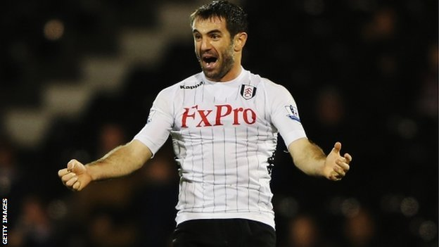 Giorgos Karagounis celebrates scoring Fulham's equaliser against Blackpool