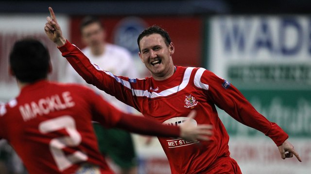 Gary Twigg celebrates his first goal for Portadown