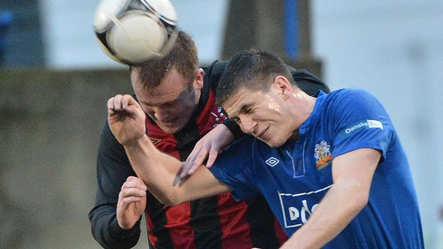 Match action from Glenavon against Crusaders