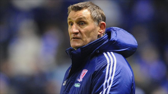 Middlesbrough boss Tony Mowbray