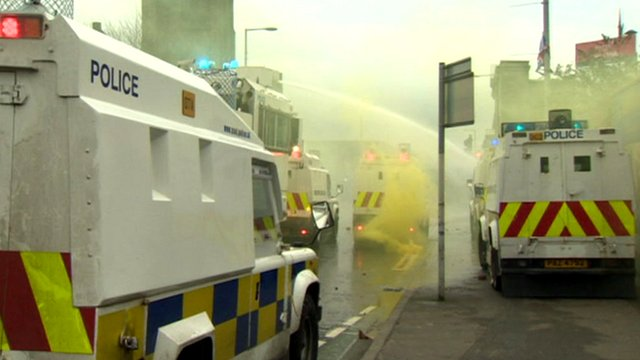 Police vehicles in Belfast