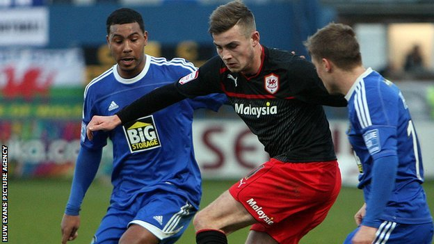 Joe Ralls in action for Cardiff City against Maclcesfield