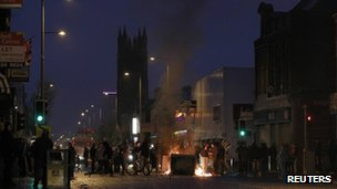 Loyalist youths burn debris in the Newtownards Road