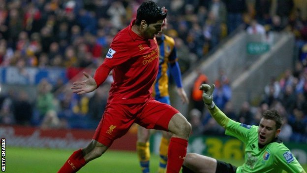 Luis Suarez scores for Liverpool
