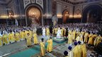 Russian Patriarch Kirill delivers a Christmas service at the Cathedral of Christ the Saviour, Moscow