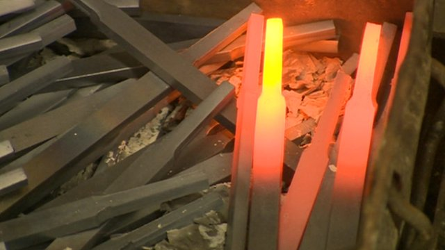 Glowing stainless steel bars