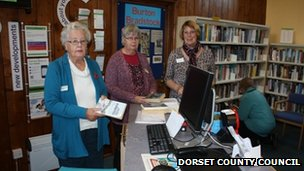 Volunteers at Burton Bradstock library