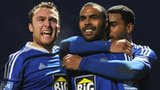 Matthew Barnes-homer celebrates his winning goal for Macclesfield against Cardiff