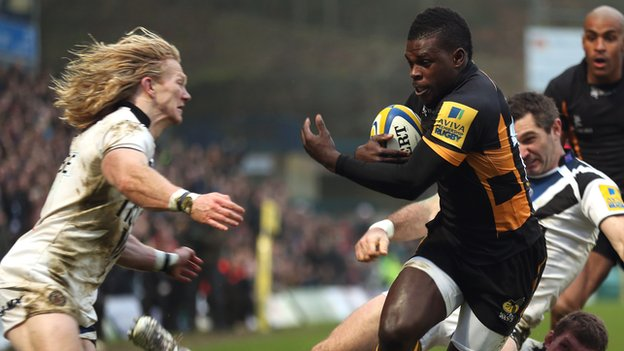 Christian Wade blasts through the Bath defence to score for Wasps on Sunday