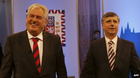 Jan Fischer (R) and Milos Zeman, both Presidential candidates arrive at a studio for a Television debate on January 4, 2013 in Prague. The first Czech direct presidential election will be held on January 11-12, 2013