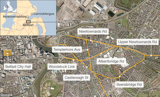 Locations of recent violence in Belfast