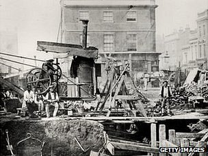Construction workers on the Metropolitan Railway