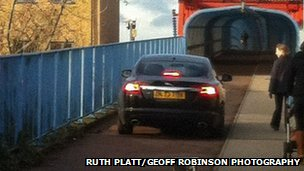 Car reversing on Cambridge cycle bridge