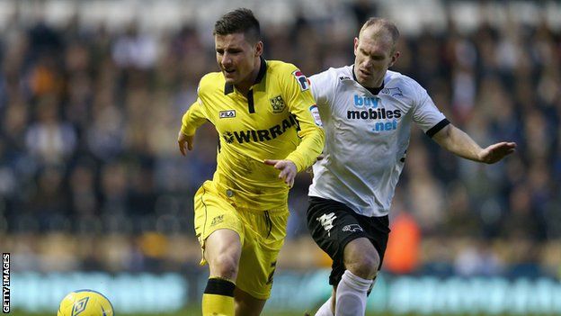 Michael O'Halloran in action for Tranmere against Derby