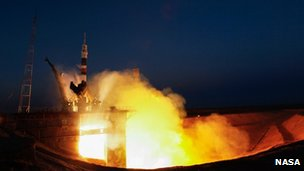 Launch of Soyuz TMA-07M carrying Chris Hadfield to the International Space Station 19 December 2012