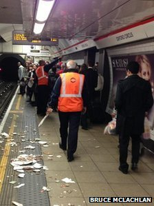 Plaster fell from a ceiling at Oxford Circus station