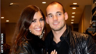 Wesley Sneijder and wife Yolanthe