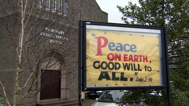 Peace message outside church