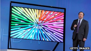Samsung ultra-high definition TV on display