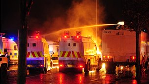 Water cannon have been used during a fifth night of rioting in east Belfast