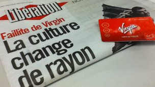 Liberation newspaper from 8 January 2013 with Virgin France loyalty card