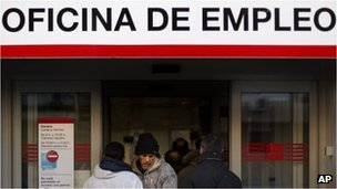 People at an unemployment office in Madrid