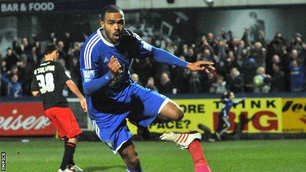 Macclesfield Town striker Matthew Barnes-Homer