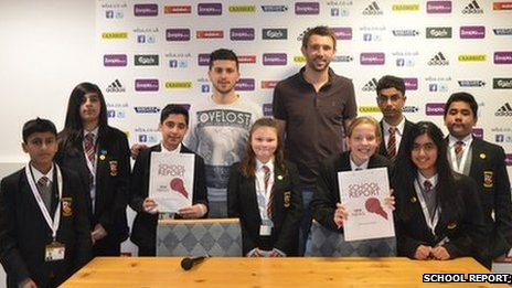 Pupils from Birmingham's Saint John Wall Catholic School with West Bromwich Albion footballers Shane Long (left) and Gareth McAuley