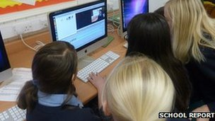Carshalton High School for Girls pupils edit material for their live broadcast during December's Practice News Day