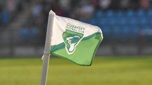 Guernsey FC corner flag flying at Footes Lane