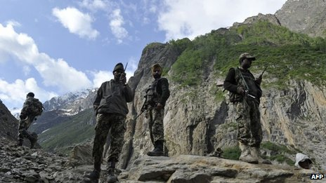 File pic from June 2012 of Indian Border Security Force (BSF) soldiers in Kashmir