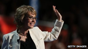 Gabrielle Giffords waves on stage at the Democratic National Convention in Charlotte, North Carolina 6 Septemeber 2012