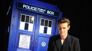 Matt Smith with the tardis