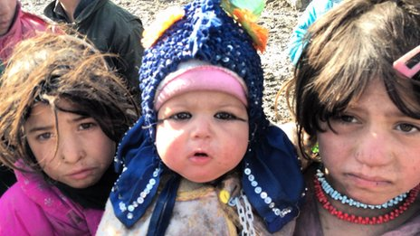 Displaced Afghans in  in Camp Qambar‏ on the outskirts of Kabul