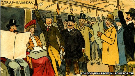 Cartoon of passengers in train carriage
